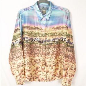 Wrangler Pearl Snap Western Shirt Horse Print